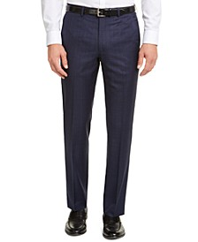 Men's Classic-Fit UltraFlex Stretch Blue Check Suit Pants