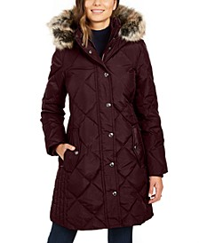 Hooded Faux-Fur-Trim Puffer Coat