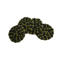 Thirstystone Round Felt Ball Pom Pom Coaster, Set of 4
