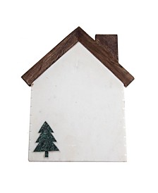 Marble and Wood House Shaped Serving Board with Tree Icon