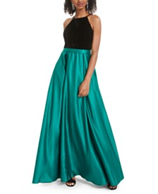 City Studios Juniors' Velvet & Satin Gown