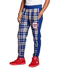 Men's Reverse Weave Plaid Colorblocked Joggers