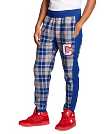 Champion Men's Reverse Weave Plaid Colorblocked Joggers