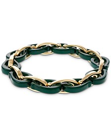 Gold-Tone Resin & Chain Link Stretch Bracelet