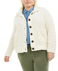 Trendy Plus Size Button-Down Fleece Jacket