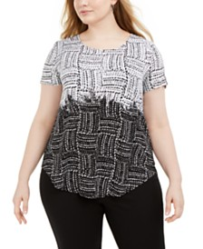 Alfani Plus Size Print-Blocked Top, Created for Macy's