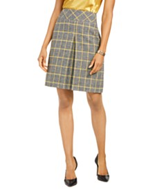 Kasper Pleated Plaid Skirt