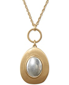 "Two-Tone Champagne Imitation Mother-of-Pearl Pendant Necklace, 30"" + 2"" extender"
