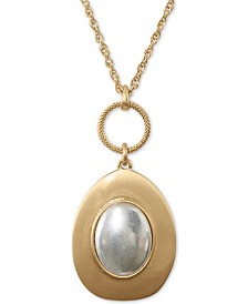 "Lucky Brand Two-Tone Champagne Imitation Mother-of-Pearl Pendant Necklace, 30"" + 2"" extender"