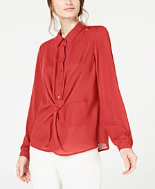 Twist-Front Button-Up Top, Created for Macy's