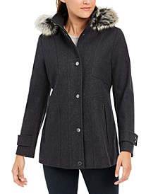 Zip-Front Faux-Fur-Trim Hooded Coat