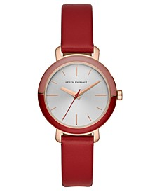 Women's Bette Red Leather Strap Watch 34mm