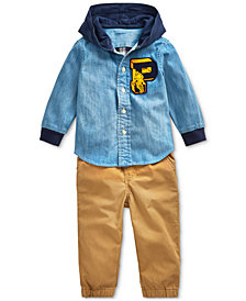 Polo Ralph Lauren Baby Boys Hooded Chambray Shirt & Cargo Pants
