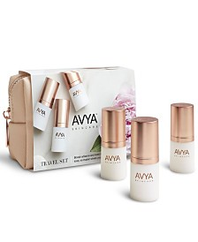 Avya Skincare Travel Set with Anti-Aging Power Serum, Eye Bright Cream and Day Moisturizer with SPF 20