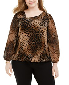 Alfani Plus Size Animal-Print Asymmetrical-Neck Top, Created for Macy's