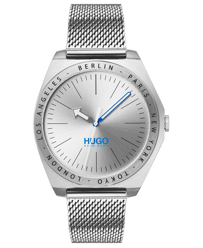 HUGO - Men's #Act Stainless Steel Mesh Bracelet Watch 44mm