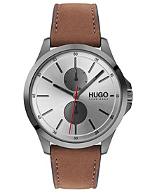 Men's #Jump Brown Leather Strap Watch 40mm