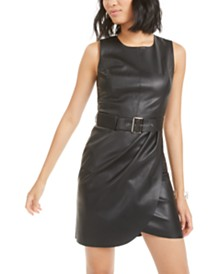 Bar III Belted Faux-Leather Dress, Created for Macy's