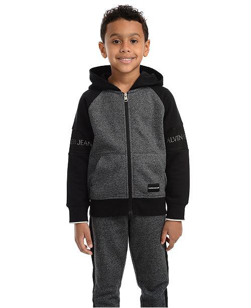 Calvin Klein Little Boys Varsity Colorblocked Fleece Hoodie