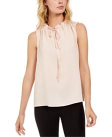 Calvin Klein Petite Tie-Neck Top