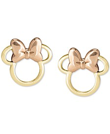 Children's Minnie Mouse Silhouette Stud Earrings in 14k Gold & Rose Gold