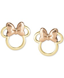 Disney© Children's Minnie Mouse Silhouette Stud Earrings in 14k Gold & Rose Gold