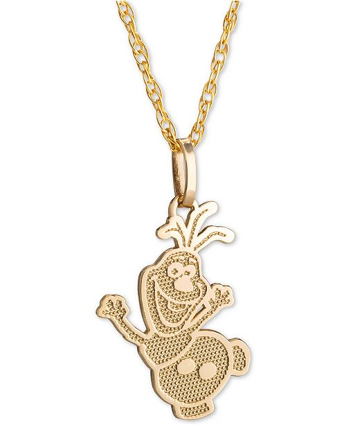 "Disney Children's Frozen Olaf 15"" Pendant Necklace in 14k Gold"