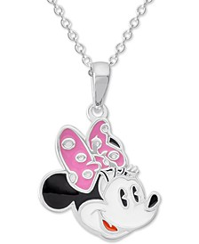 "Children's Enamel Minnie Mouse 16"" Pendant Necklace in Sterling Silver"
