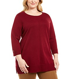 Plus Size Cotton Roll-Neck Sweater, Created for Macy's