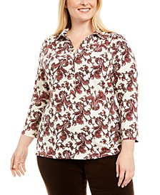 Plus Size Paisley Polo-Style Shirt, Created for Macy's