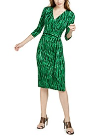 INC Petite Printed Faux-Wrap Dress, Created for Macy's