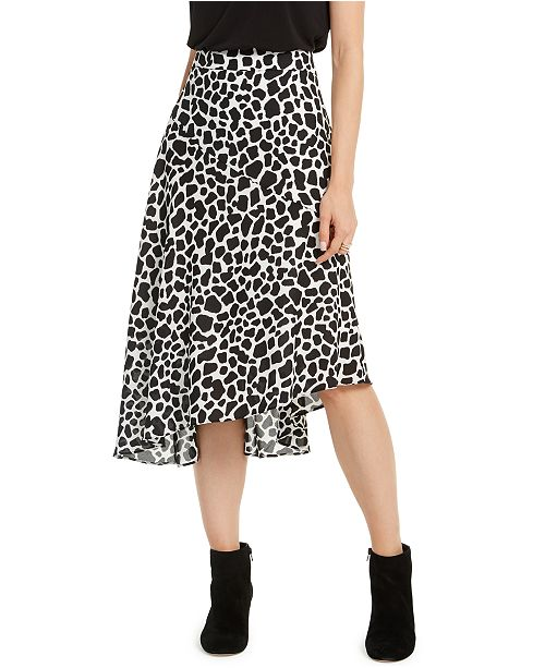INC International Concepts INC Spotted Asymmetrical Midi Skirt, Created for Macy's