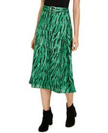 I.N.C. Belted Printed Midi Skirt, Created for Macy's