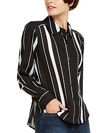 I.N.C. Striped Button-Up Blouse, Created for Macy's