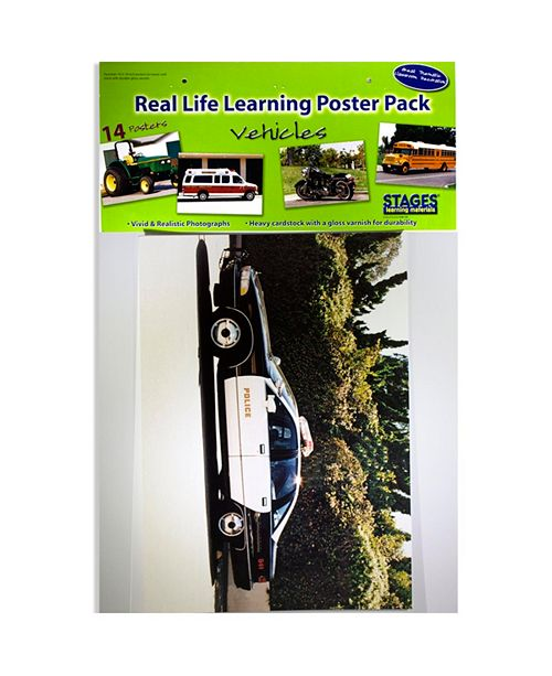 Stages Learning Materials Real Photo Vehicles Poster Set