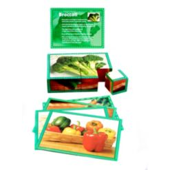 Stages Learning Materials Real Picture Vegetables Wooden Cube Puzzle 12 Piece