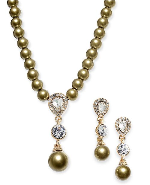 Charter Club Cubic Zirconia and Imitation Pearl Lariat Necklace & Drop Earrings Boxed Set, Created for Macy's