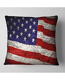 "Designart Large American Flag Watercolor Abstract Throw Pillow - 18"" x 18"""