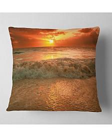 "Designart Amazing Beauty of Sun Reflection in Sea Seascape Throw Pillow - 16"" x 16"""