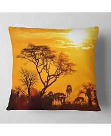 "Designart Orange Glow of African Sunset Landscape Printed Throw Pillow - 18"" x 18"""