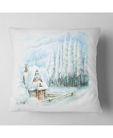 "Designart Christmas Winter Happy Scene Landscape Printed Throw Pillow - 16"" x 16"""