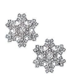 Silver-Tone Crystal Snowflake Stud Earrings, Created for Macy's