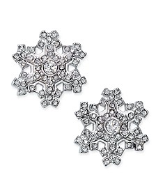 Holiday Lane Silver-Tone Crystal Snowflake Stud Earrings, Created For Macy's