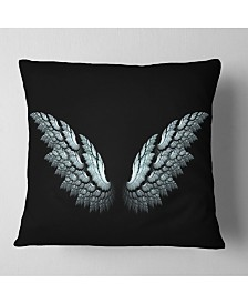 """Designart Angel Wings on Black Background Abstract Throw Pillow - 16"""" x 16"""""""