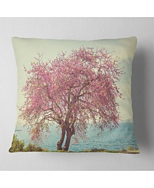 "Designart Pink Flowers on Lonely Tree Landscape Printed Throw Pillow - 26"" x 26"""