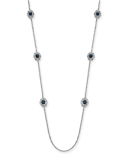 """Charter Club Silver-Tone Cubic Zirconia Cluster Statement Necklace, 42"""" + 2"""" extender, Created For Macy's"""