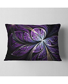 "Designart Glittering Purple Fractal Flower Floral Throw Pillow - 12"" x 20"""
