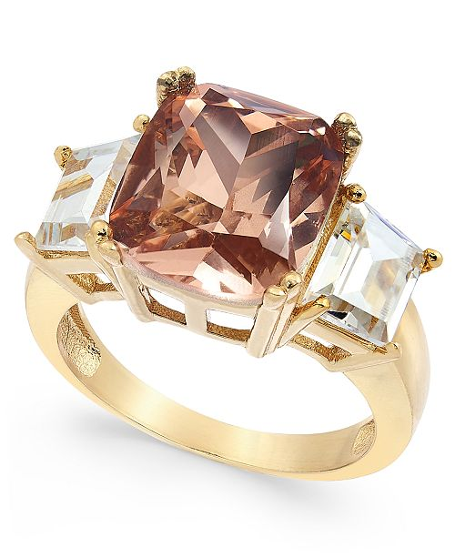 Charter Club Gold-Tone Emerald-Cut Triple-Crystal Ring, Created for Macy's