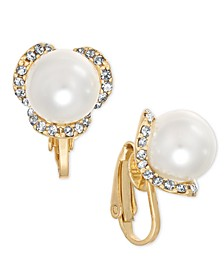 Gold-Tone Pavé & Imitation Pearl Poppy Clip-On Button Earrings, Created For Macy's