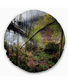 "Designart Creek and Bridge with Sunbeams Landscape Photography Throw Pillow - 16"" Round"